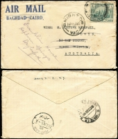 Lot 1018 [2 of 3]:1926-29 trio of very early airlifted items to Brighton Victoria, comprising [1] 1926 (Dec 3) cover inscribed 'AIR MAIL/BAGHDAD-CAIRO' bearing 6a tied by Nasiriyah cds, backstamped Baghdad (Dec 14) and Port-Said (Dec 20), carried by R.A.F. Desert Airmail Service, the earliest jusqu'a airmail item recorded to Australia (Perry collection earliest was 1927 (Jan 21)), Brighton arrival 1927 (Jan 16), [2] 1927 (Dec 16) Armenian Church cover franked 4a and 1a tied Baghdad cds, Cairo transit, and [3] rare 1929 (Mar 2) postcard franked 2a tied by Basrah cds, rare Malvern East arrival (Apr 2). Rare group, first time offered, from Marshall correspondence. (3)