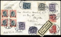 Lot 1019:1927 (Apr 11) inwards air cover from Aalborg, Denmark to Brighton Victoria with colourful franking of mostly surcharges, endorsed 'BY AIR MAIL' and with German 'Luftpost/Par avion' black on yellow label, the earliest recorded jusqu'a airmail item to Australia. First time offered, from Marshall correspondence.