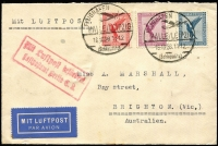 Lot 1020 [1 of 2]:1928 (Oct 16) inwards air cover from Germany to Brighton Victoria, carried by airmail Halle/Leipzig to Berlin, very early jusqu'a airmail item to Australia. First time offered, from Marshall correspondence.