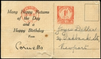 Lot 1024 [2 of 2]:1932 (Dec 30) Birthday Greetings postcard (Meter impression obverse) bearing Ginger Meggs (and Min etc) purposeful design by Jimmy Bancks, creator of the cartoon series, minor blemishes, rare.