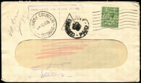 Lot 769 [1 of 2]:1935 window envelope from England to Queensland, Customs Duty paid in advance, poor 'CUSTOMS DUTY/[crown]/PAID on face. Unclaimed and returned to England.