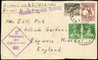 Lot 1032:1940 (Nov 29) POW postcard (vertical central crease) franked for elusive 2/11d card rate via NZ/US/UK Clipper service ex Sydney, Passed Censor handstamp.