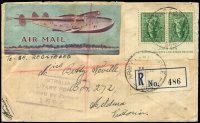 Lot 843 [1 of 2]:1942 (Aug 4) registered cover to Mildura bearing 4d Koala JOHN ASH imprint pair, tied by 'ARMY POST OFFICE/066' cds at Pine Creek, unnamed registration label, striking Flying Boat improvised AIR MAIL label, not seen by us previously.