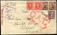 Lot 1037:1945 (Jul 30) airmail cover Richmond Queensland to Denmark via Lancastrian Service, censored Brisbane and Melbourne, bold red 'O.A.T.' applied at London, scarce early reduced 1/6d postwar rate.