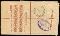 Lot 860 [2 of 2]:1951 (Feb 4) 8½d Registration Envelope (uprated with 4/4d for airmail) from Woomera West to Isle of Wight, Customs form on face for Stockings valued at 11/3d. Unusual rate.