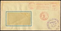 Lot 861:1954 inwards unsealed window envelope from Germany to NSW, red 'CUSTOMS DUTY/2D/TO PAY' handstamp on face. Released by Customs clock also on face. Rare.