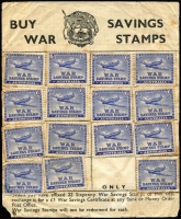 Lot 887 [1 of 2]:WWII 6d 'Spitfire' No Wmk Perf 14 (31) affixed to War Savings sheet, one more stamp was needed to get a £1 War Savings Certificate. Condition mixed but rare. (31)