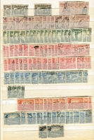 Lot 164 [5 of 11]:1913-65 Collection with duplication in large stockbook, incl Roos 1st wmk ½d to 5/-, 2nd Wmk 2d to 2/-, 3rd Wmk 2d to 5/-, SMW 6d to 5/-, CofA 6d to 10/-, KGV single wmk ½d to 5d, SMW P14 ½d to 4½d, SMW P13½x12½ ½d to 1/4d, CofA ½d to 1/4d, then on nearly complete, with 5/- Bridge commercially used, thick & thin paper Robes, no Navigators. Generally good quality stamps. Excellent value. (1,000s)