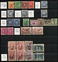 Lot 167 [2 of 11]:1913-87 Collection with small duplication in large stockbook, incl Roos 1st wrnk ½d to 1/-, 2nd Wmk 2d to 2/-, 3rd Wmk 2d to 10/-, SMW 6d to 5/-, CofA 9d to 10/- plus Specimen set, KGV single wmk ½d to 1/4d, SMW P14 ½d to 1/4d, SMW P13½x12½ ½d to 1/4d, CofA ½d to 1/4d, then on nearly complete, with 3d Kooka M/S red & blue cancels, KSmith OS CTO pair, 5/-. Bridge commercially used, thick & thin paper Robes, Navigators set of 8, BCOF set of 8, 5c on 4c booklet pane set of 6. Generally good quality stamps, however some wmks are not identified properly. Plus a few mint Roos & KGV. Excellent value.