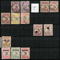 Lot 167 [5 of 11]:1913-87 Collection with small duplication in large stockbook, incl Roos 1st wrnk ½d to 1/-, 2nd Wmk 2d to 2/-, 3rd Wmk 2d to 10/-, SMW 6d to 5/-, CofA 9d to 10/- plus Specimen set, KGV single wmk ½d to 1/4d, SMW P14 ½d to 1/4d, SMW P13½x12½ ½d to 1/4d, CofA ½d to 1/4d, then on nearly complete, with 3d Kooka M/S red & blue cancels, KSmith OS CTO pair, 5/-. Bridge commercially used, thick & thin paper Robes, Navigators set of 8, BCOF set of 8, 5c on 4c booklet pane set of 6. Generally good quality stamps, however some wmks are not identified properly. Plus a few mint Roos & KGV. Excellent value.