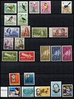 Lot 282 [5 of 10]:1913-65 with small duplication in large stockbook, incl Roos 1st wmk ½d to 6d, 3rd Wmk 3d & 9d, KGV single wmk ½d to 1/4d, SMW P14 ½d to 4½d, SMW P13½x12½ ½d to 4d, CofA ½d to 5d, then on fairly complete, though missing the high-values, with 3d Kooka M/S, 10/- Robes, Navigators set of 6. Generally good quality stamps, however some wmks are not identified properly. Excellent value. (100s)