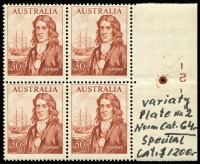 Lot 616:1966-72 50c Dampier plate 2 right marginal block of 4. BW #461zb, Cat $275, unfortunate annotation in margin.