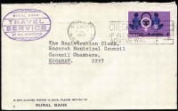 Lot 840:1967 4c Gynaecology solo tied by Cronulla machine-applied slogan to 1967 (Sep 27) Rural Bank cover, an elusive solo franking as Letter rate increased to 5c nine days after stamp issue.