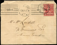 "Lot 595 [3 of 3]:1d Rose-Red (Pl 1) & 1d Bright Scarlet (Pl 2-4) BW #59, on contemporary postcard (""Tiger Snake"") and cover, respectively, both with Melbourne machine-applied cancel, latter cancelled Spotswood day prior, blemishes, Cat $1,050. (2)"