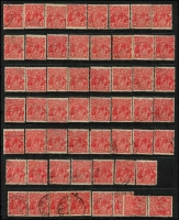 Lot 248 [2 of 5]:1d green (c.300), 2d red (c.150), 3d (c.50) accumulation mainly CofA, plus 100s of later issues, odd fault, few pairs, some pmk interest, mainly Vic, and probably only picked for major varieties. (c.1,000)