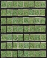 Lot 248 [1 of 5]:1d green (c.300), 2d red (c.150), 3d (c.50) accumulation mainly CofA, plus 100s of later issues, odd fault, few pairs, some pmk interest, mainly Vic, and probably only picked for major varieties. (c.1,000)