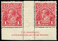 Lot 742:1d Carmine-Rose Harrison two-line imprint pair with White flaw in right frame opposite emu's feet BW #74(3)z, perf reinforcements in margin, mint, Cat $2,250.
