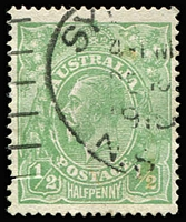 Lot 110:½d Green Comb Perf Electro 2 variety Crack through 'P' of 'POSTAGE' [2R35] BW #63A(2)o. A scarce and seldom offered electro crack. Drury certificate (2013) for then #63A(2)j.