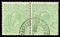 Lot 154 [1 of 2]:½d Green Comb Perf Electro 2 Crack through oval in front of face - early state [2R47], right unit in pair, BW #63(2)q, Cat $2,500.