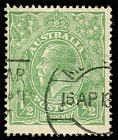 Lot 114:½d Green Comb Perf Electro 5 variety Cracked electro left wattle to 'U' [5L46] BW #63(5)k, an attractive dated example with pmk well clear of the flaw, Cat $5,000 (SG #20e, Cat £4,000). Drury Certificate (2015) for then #63B(5)h. Ex Skinner.