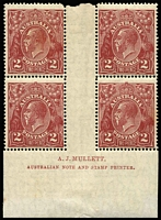 Lot 685:2d Bright Red-Brown Electro 16 Mullet imprint block of 4 BW #98(16)z, few light tones, Cat $1,000.