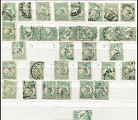 Lot 180 [3 of 9]:1/- Green selection of used stamps 3rd Wmk Die II (48 incl 'OS' x5, 'OS/NSW' x1 & private perfin x1), plus 3rd Wmk Die IIB (109 incl 'OS' x7, 'OS/NSW' x3 & private perfin x2) & Sm Mult Wmk (30 incl 'OS' x3), few plate flaws incl 33(3)g, 33(4)ea and range of shades, odd fault. Generally good condition. (180+)