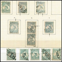Lot 180 [5 of 9]:1/- Green selection of used stamps 3rd Wmk Die II (48 incl 'OS' x5, 'OS/NSW' x1 & private perfin x1), plus 3rd Wmk Die IIB (109 incl 'OS' x7, 'OS/NSW' x3 & private perfin x2) & Sm Mult Wmk (30 incl 'OS' x3), few plate flaws incl 33(3)g, 33(4)ea and range of shades, odd fault. Generally good condition. (180+)