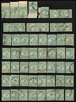 Lot 208 [2 of 4]:1/- Blue-Green accumulation of mainly CofA, some pair and blocks of 4, noted odd catalogued variety, few nice pmks, mainly Gippsland. Useful group. (c.200)