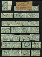 Lot 208 [1 of 4]:1/- Blue-Green accumulation of mainly CofA, some pair and blocks of 4, noted odd catalogued variety, few nice pmks, mainly Gippsland. Useful group. (c.200)