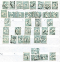 Lot 180 [3 of 5]:1/- Green selection of used stamps 3rd Wmk Die II (48 incl 'OS' x5, 'OS/NSW' x1 & private perfin x1), plus 3rd Wmk Die IIB (109 incl 'OS' x7, 'OS/NSW' x3 & private perfin x2) & Sm Mult Wmk (30 incl 'OS' x3), few plate flaws incl 33(3)g, 33(4)ea and range of shades, odd fault. Generally good condition. (180+)