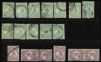 Lot 209 [1 of 5]:6d Brown 9d, 1/- & 2/- accumulation mainly CofA, odd fault, few pairs, some pmk interest, mainly Vic, and probably only picked for major varieties. (c.240)