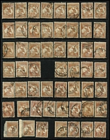 Lot 210 [3 of 6]:6d Brown accumulation of mainly CofA, some pair and blocks of 4, noted odd catalogued variety, few nice pmks, mainly Gippsland. Useful group. (c.220)