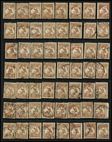 Lot 210 [1 of 6]:6d Brown accumulation of mainly CofA, some pair and blocks of 4, noted odd catalogued variety, few nice pmks, mainly Gippsland. Useful group. (c.220)