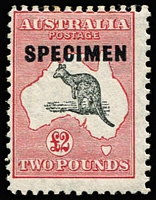 Lot 642:£2 Grey-Black & Rose-Crimson optd 'SPECIMEN' Broken coast in Bight [R3], BW #58(D)p, Cat $1,500 as normal used stamp.