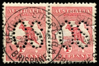 Lot 506:1d Red Die I perf large 'OS' pair, right unit '1' flaw west of Tasmania - second state, BW #2(B)fa, small crease on right unit, well centred, neat George Street Brisbane 9 JA 14 cds clear of variety, Cat $300+ (large 'OS'  x2 normal).
