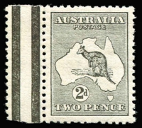 Lot 29:2d Grey BW #5a Wmk inverted marginal single, MUH, Cat $475.