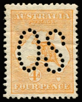 Lot 16:4d Orange Perf Large 'OS' BW #15ba, light crease, mint, Cat $500.
