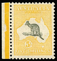 Lot 596:5/- Grey & Yellow marginal single, BW #45, fresh MUH, Cat $1,750.