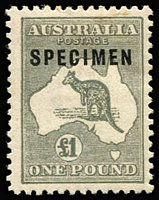 Lot 603 [1 of 2]:£1 Grey Optd 'SPECIMEN' Type C sub-type C1 Damaged 'C' and 2nd example with Type D 'SPECIMEN', BW #53xd, both slightly aged gum, Cat $1,375. (2)