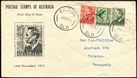 Lot 766 [1 of 2]:Brisbane Stamp Co 1951 3d Dark Green KGVI with 1½d QE & 3d red KGVI, tied by 'EILDON/14NO51/QLD' datestamp to illustrated cover, to Venezuela. Unusual destination.