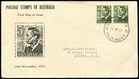 Lot 767:Brisbane Stamp Co 1951 3d Dark Green KGVI pair tied by '2 BRISBANE 2/14NO51/QLD,AUST' datestamp to Brisbane Stamp Co illustrated cover, typed address.