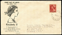 Lot 770:Covercraft 1953 3½d QEII on illustrated cover, typed address.