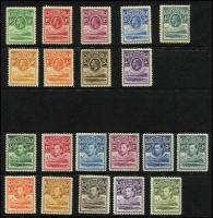Lot 1443 [2 of 2]:1933-38 KGV & KGVI Crocodile compete sets, SG #1-10,18-28, KGVI set MUH, Cat £435. (21)