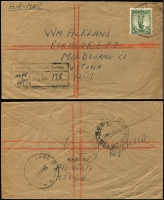 Lot 1072 [1 of 2]:1946-47 registered covers to Melbourne with Australia frankings comprising 1946 (Apr 19) 'AUST UNIT POSTAL STN/497' (Kure) tying 1/- Lyrebird, a scarce solo usage, and 1947 (Mar 21) 'A.F.P.O No 30/R.A.A.F. JAPAN' bearing Iwakuni registration label. (2)
