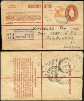 Lot 591 [2 of 2]:1949-50 registered covers to Melbourne with Australia frankings comprising 1949 (Feb 18) uprated use of Registered Letter stationery, and 1950 (Jan 28) airmail, 'AUST UNIT POSTAL STN/388' and '496' cancels of Hiro, respectively, both with fine strikes of registration panel error 'Servise' for 'Service'. (2)