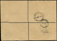 "Lot 1452 [2 of 2]:1941 (Jun 17) registered cover Gizo to Manchester bearing KGVI 2/6d, endorsed ""Trans Pacific Trans Atlantic"", backstamped Rabaul (Jun 22) and Townsville (Jun 29 - where censored), apparently intended for carriage within Australia on reopening of QANTAS flying boat service Brisbane-Darwin (Jul 3), AAMC #918."