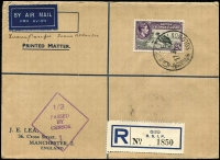 "Lot 1452 [1 of 2]:1941 (Jun 17) registered cover Gizo to Manchester bearing KGVI 2/6d, endorsed ""Trans Pacific Trans Atlantic"", backstamped Rabaul (Jun 22) and Townsville (Jun 29 - where censored), apparently intended for carriage within Australia on reopening of QANTAS flying boat service Brisbane-Darwin (Jul 3), AAMC #918."