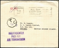 Lot 1011 [2 of 2]:1964 (Jul-Nov) inwards covers to same addressee in Honiara, from Melbourne and Sydney, intended for airmail but unstamped and therefore receiving the respective 'Insufficiently paid' and Tax markings. (2)