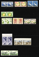Lot 1336 [2 of 2]:1963 Pictorials set in pairs with 5d, 6d, 7 & 1/- perfed and 1d, 2d, 3d, 1/6d, 2/-, 3/- & 5/- imperf, heavy adhesion on 5/- and some smaller adhesions on 1/6d, others have a little or no disturbed gum. (10 prs)