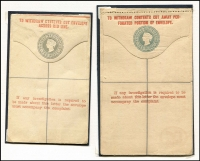 Lot 15 [2 of 4]:British Commonwealth QV Postal Stationery mainly mint group of envelopes or Registration Envelopes, with Trinidad 2d Reg Envelope x2 different, NZ 1900 ½d green & 2d violet, Straits Settlement 1891 5c Reg Envelope, HK 1900 10c Reg Envelope, Gibraltar on 2d St Lucia Reg Envelope and 2d St Lucia Reg Envelope, COGH 1892 ½d green 1d rose x2 different, 2½d green 4d Reg Envelope x2 (1 used), India 1855 1d red KGV lettersheet, 1857 ½a, 1a on blue x2 (1 used), 1a brown on white, 1881 4a6p orange, 2a6p Surcharge, 2a6p orange, 1a Surcharge, Chamba ½a, Zanzibar blue ovpt on India ½a. (25)
